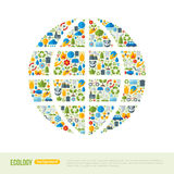 Eco Friendly, green energy concept, vector. Illustration. Globe symbol with flat ecology icons. Save the planet concept. Go green. Save the Earth. Earth Day Royalty Free Stock Photos