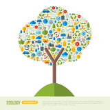 Eco Friendly, Green Energy Concept, vector. Illustration. Tree symbol with flat ecology icons. Save the planet concept. Go green. Save the Earth. Earth Day Royalty Free Stock Photos
