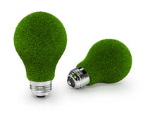 Eco-Friendly Green Grass Light Bulbs on white back. A set of 2 green bulbs isolated on a white background, depicting ecology friend bulbs Royalty Free Stock Images