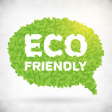 ECO friendly green leaf speech bubble. Leaf illustration. from background. layered Royalty Free Illustration