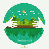 Eco friendly hands hug concept green tree.Environmentally friend. Ly natural landscape.Vector illustration Royalty Free Stock Photo