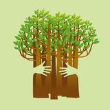 Eco friendly hands hug concept green tree.Environmentally friend Stock Images