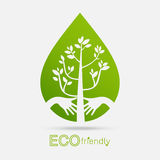 Eco friendly hands hug concept green tree.Environmentally friend. Ly natural landscape.Vector illustration Royalty Free Stock Image