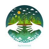 Eco friendly hands hug concept green tree.Environmentally friend. Ly natural landscape.Vector illustration Stock Photo