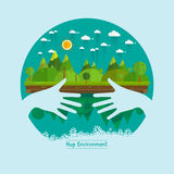 Eco friendly hands hug concept green tree.Environmentally friend. Ly natural landscape.Vector illustration Royalty Free Stock Photos