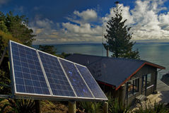 Eco Friendly Home. On the west coast of New Zealand royalty free stock photo