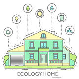 Eco-friendly home infographic. Stock Photo