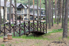 Eco-friendly hotel. Eco-friendly resort hotel in forest Stock Photos