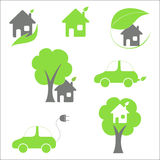 Eco friendly house and car Royalty Free Stock Image