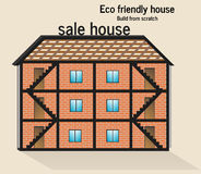Eco friendly house. Roof door clean front Stock Photography