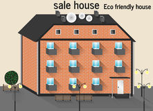 Eco friendly house. Roof door clean front Stock Photo