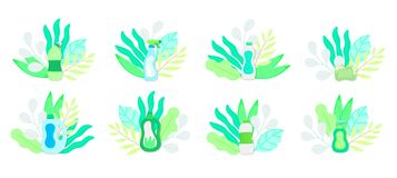 Eco friendly household cleaning supplies in leaves. Natural detergents. Products for house washing stock illustration