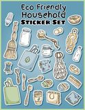 Eco friendly household stickers set. Ecological and zero-waste collection of labels. Go green living stock illustration