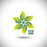 Eco friendly icon circle of leaves vector Stock Images