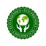 Eco friendly icon. Globe and human hand Stock Photos