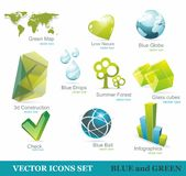Eco friendly icon set in green and blue Royalty Free Stock Image