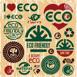 Eco friendly icons set. I love eco. Go green. Stock Photo