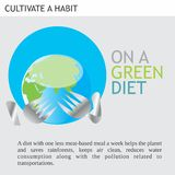 Eco Friendly Ideas On a green diet. A diet with one less meat-based meal a week helps the planet and saves rain forest, keeps air clean, reduces water Stock Images