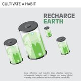 Eco Friendly Ideas recharge earth. Cost effective and durable than alkaline batteries, rechargeable batteries and a charger and reduce global warming water Royalty Free Stock Photography