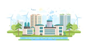 Eco-friendly industry - modern flat design style vector illustration. On white background. An urban landscape with a big factory with waste treatment facilities