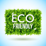 Eco friendly label made of leaves. Vector illustration. Stock Photos