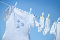 Eco- friendly  laundry drying on clothesline Stock Images