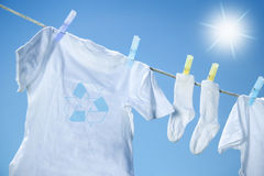 Eco- friendly  laundry drying on clothesline Royalty Free Stock Photography