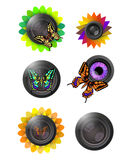 Eco-friendly lens logo set Royalty Free Stock Photos