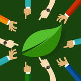 Eco friendly life represented with leaf. hand working together. concept of teamwork collaboration and participation Stock Photo