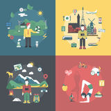 Eco friendly lifestyle travel healthy flat 3d isometric vector Royalty Free Stock Image