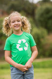 Eco friendly little girl smiling to camera Stock Photo