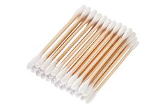 Eco-friendly materials. Wooden, cotton swabs on a white background stock images