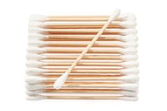 Eco-friendly materials. Wooden, cotton swabs on a white background royalty free stock photography