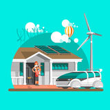 Eco friendly modern house. Green architecture. Solar panel, wind turbine, green roof. Vector illustration, info graphic. Eco friendly modern house. Green Stock Images