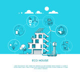 Eco friendly modern house. Green architecture. Solar panel, wind turbine, green roof. Vector illustration. Stock Images