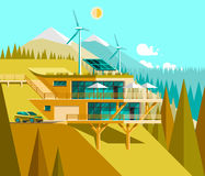 Eco friendly modern house. Green architecture. Solar panel, wind turbine, green roof. Stock Photos