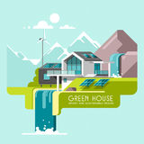 Eco friendly modern house. Green architecture. Solar panel, wind turbine, green roof. Vector illustration. Eco friendly modern house. Green architecture. Solar Royalty Free Stock Photos
