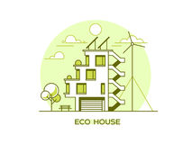 Eco friendly modern house. Green architecture. Solar panel, wind turbine, green roof. Vector illustration. Royalty Free Stock Photography