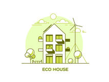 Eco friendly modern house. Green architecture. Solar panel, wind turbine, green roof. Vector illustration. Stock Image