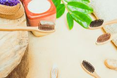 Eco friendly natural bamboo toothbrush place on wooden plates and toothpaste made from salt,charcoal and Aloe,concept reduce use. Plastic for Sustainable health stock photography