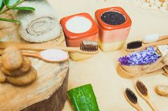 Eco friendly natural bamboo toothbrush place on wooden plates and toothpaste made from salt,charcoal and Aloe,concept reduce use. Plastic for Sustainable health royalty free stock image