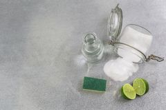 Eco-friendly natural cleaners, cleaning products. Homemade green cleaning on grey background. stock image
