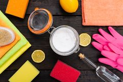 Eco-friendly natural cleaners, cleaning products. Homemade green cleaning. In a natural light stock photography