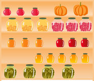 Eco-friendly, natural grocery stores, compotes, preserves, jams on the shelves Royalty Free Stock Photography