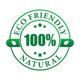Eco friendly natural label. 100% eco friendly natural sticker ( vector image Stock Image