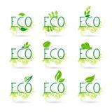 Eco Friendly Organic Natural Bio Product Web Icon Set Green Logo Collection Royalty Free Stock Image
