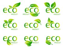 Eco Friendly Organic Natural Product Green Logo. Set of green word with green leaf. Vector Illustration. Set of Eco Friendly Organic Natural Product Green Logo vector illustration