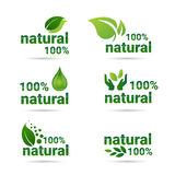 Eco Friendly Organic Natural Product Web Icon Set Green Logo Collection. Flat Vector Illustration Royalty Free Stock Images