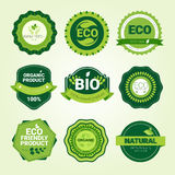 Eco Friendly Organic Natural Product Web Icon Set Green Logo Collection. Flat Vector Illustration Royalty Free Stock Photography