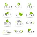 Eco Friendly Organic Natural Product Web Icon Set Green Logo Stock Photography